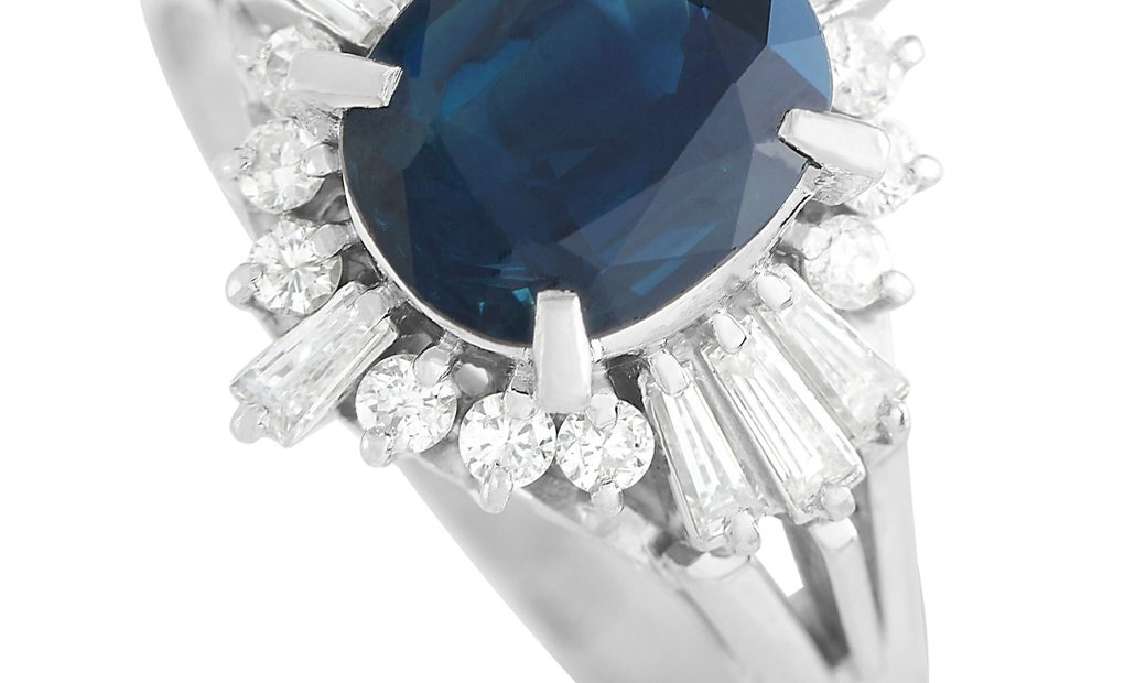 LB Exclusive LB Exclusive Platinum 0.50 ct Diamond and 2.08 ct Sapphire Ring