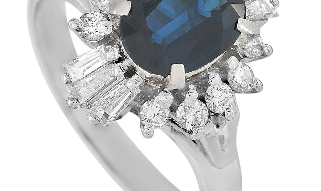 LB Exclusive LB Exclusive Platinum 0.60 ct Diamond and 1.51 ct Sapphire Ring