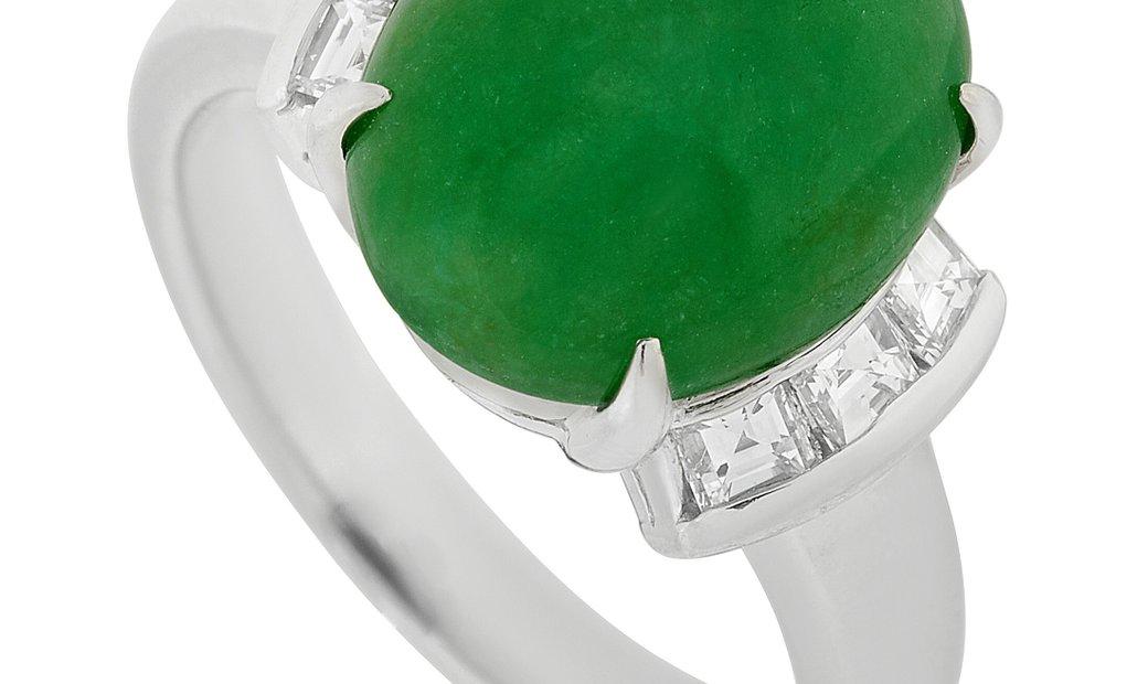 LB Exclusive LB Exclusive Platinum 0.40 ct Diamond and 5.15 ct Jade Ring