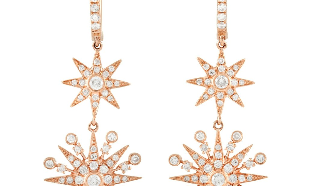 LB Exclusive LB Exclusive 18K Rose Gold 0.90 ct Diamond Dangle Earrings