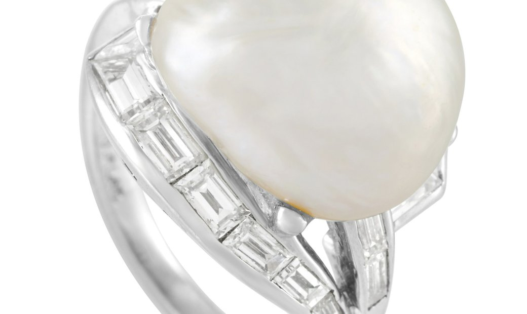 LB Exclusive LB Exclusive Platinum 1.20 ct Diamond and Natural Fresh Water Pearl Ring