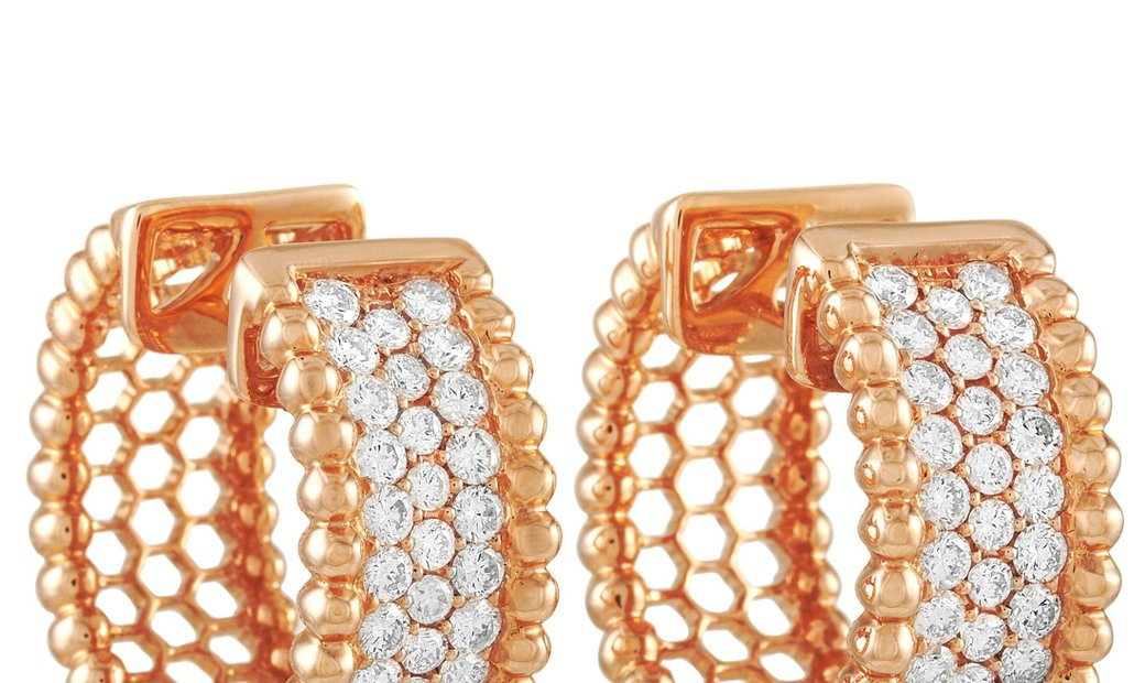 LB Exclusive LB Exclusive 18K Rose Gold 2.00 ct Diamond Hoop Earrings