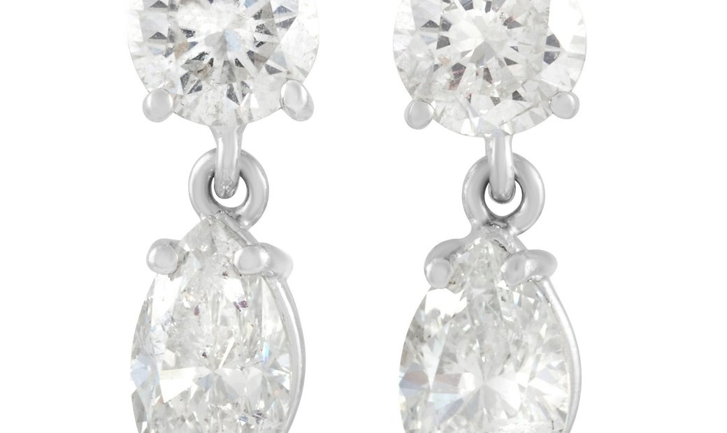 LB Exclusive LB Exclusive 14K White Gold 2.10 ct Diamond Dangle Earrings