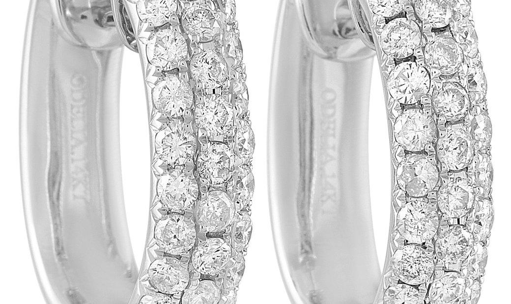 LB Exclusive LB Exclusive 14K White Gold 1.70 ct Diamond Hoop Earrings