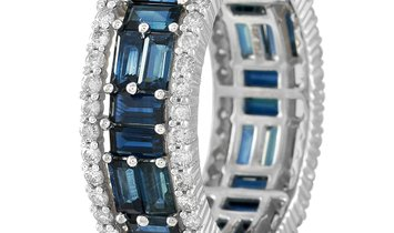 LB Exclusive LB Exclusive 14K White Gold 0.90 ct Diamond and 4.20 ct Blue Sapphire Band Ring