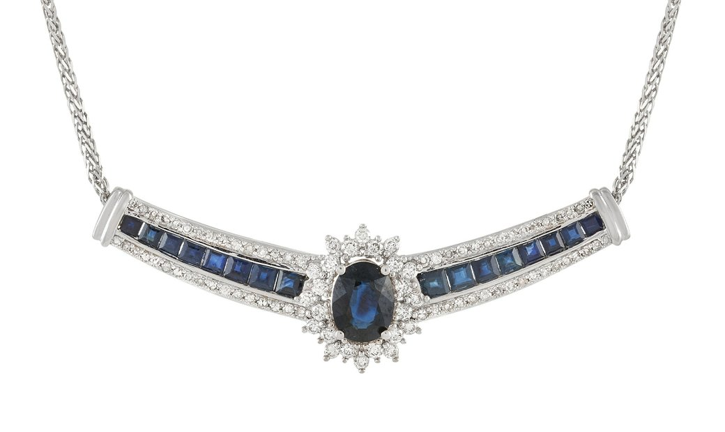 LB Exclusive LB Exclusive 14K White Gold 0.75 ct Diamond and 3.00 ct Sapphire Necklace