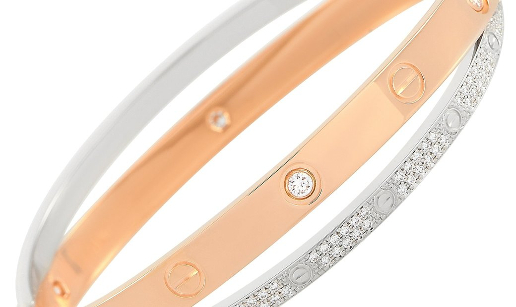 Cartier Cartier LOVE 18K Rose and White Gold 1.47 ct Diamond Pave Bangle Bracelet Size 18