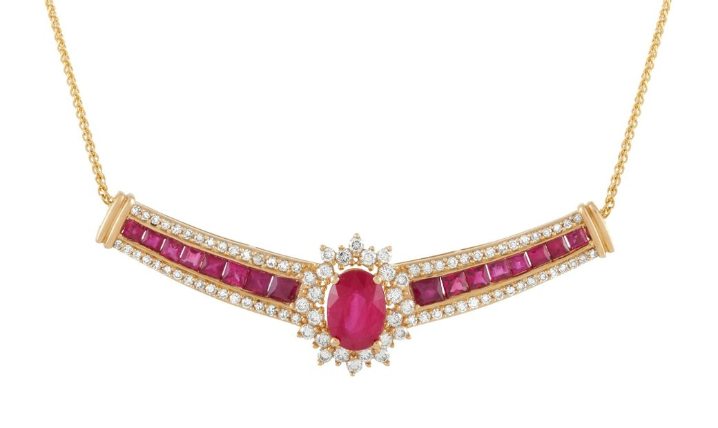 LB Exclusive LB Exclusive 14K Yellow Gold 0.75 ct Diamond and 3.00 ct Ruby Necklace