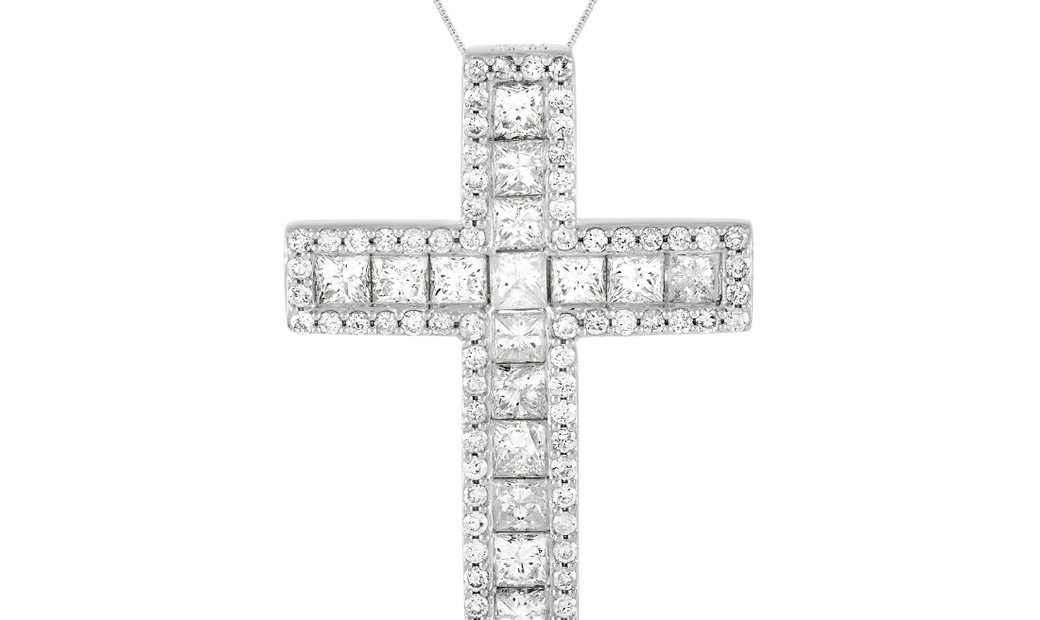 LB Exclusive LB Exclusive 14K White Gold 2.23 ct Diamond Cross Necklace