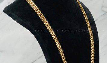Mens Cuban Link 28 Inch Necklace 14K Yellow Gold Diamond Set Box Lock