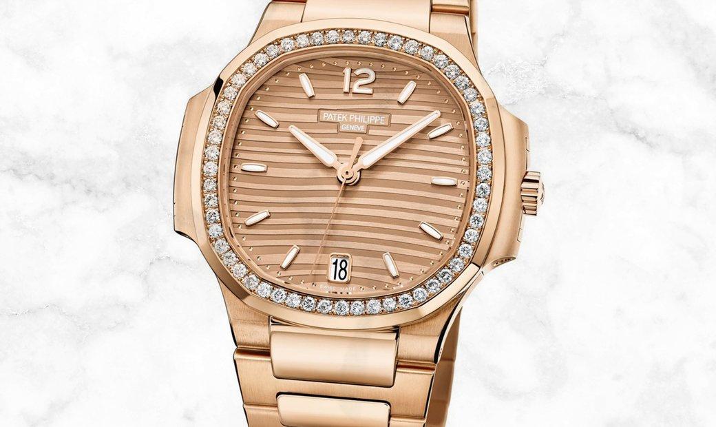 Patek Philippe Nautilus 7118/1200R-010 Ladies Rose Gold Golden Brown Opaline Dial Diamond Bezel
