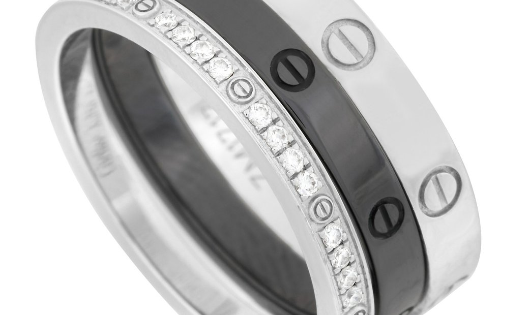 Cartier Cartier 18K White Gold and Ceramic Diamond Love 3 Ring Set