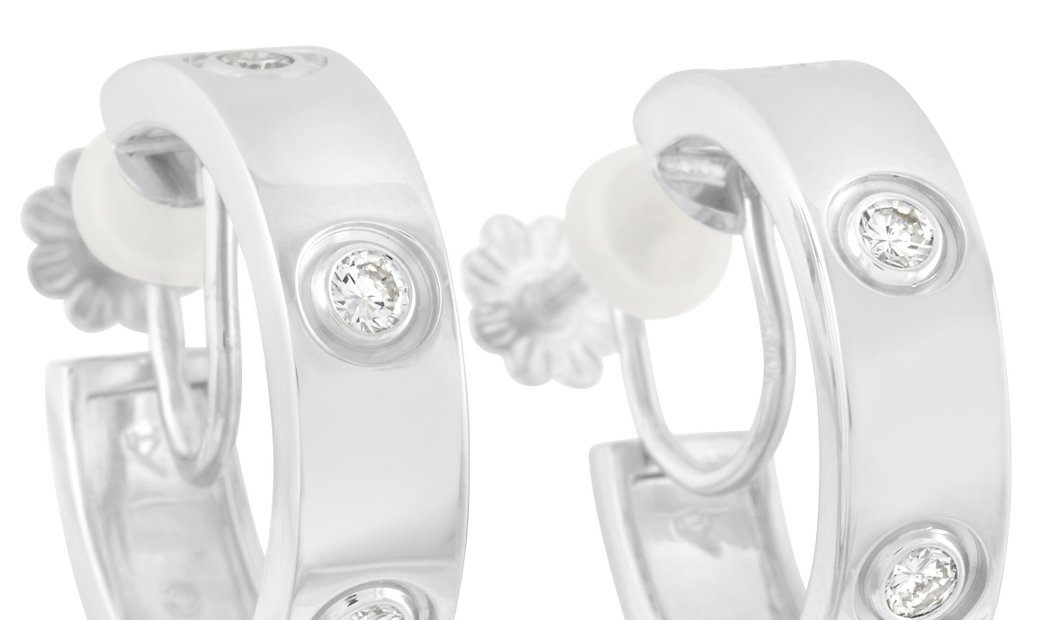 Cartier Cartier 18K White Gold 0.42 ct Diamond Love Hoop Earrings