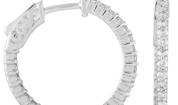 LB Exclusive LB Exclusive 14K White Gold 1.00 ct Diamond Hoop Earrings