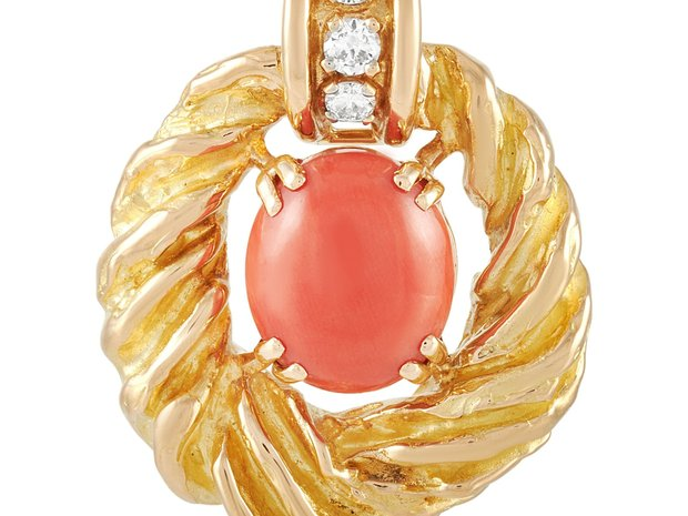 Chaumet Chaumet 18K Yellow Gold 0.50 ct Diamond and Coral... (11337922)