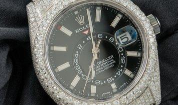 Bespoke Rolex Sky-Dweller 326934 Oystersteel Black Dial Diamond Set