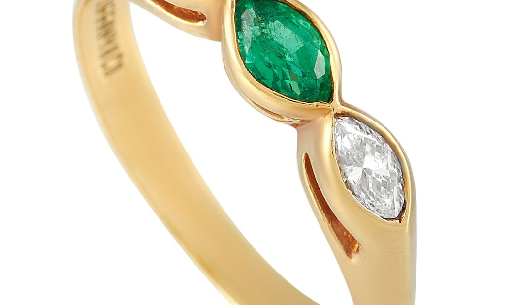 Tiffany & Co. Tiffany & Co. 18K Yellow Gold 0.25 ct Diamond and 0.25 ct Emerald Ring