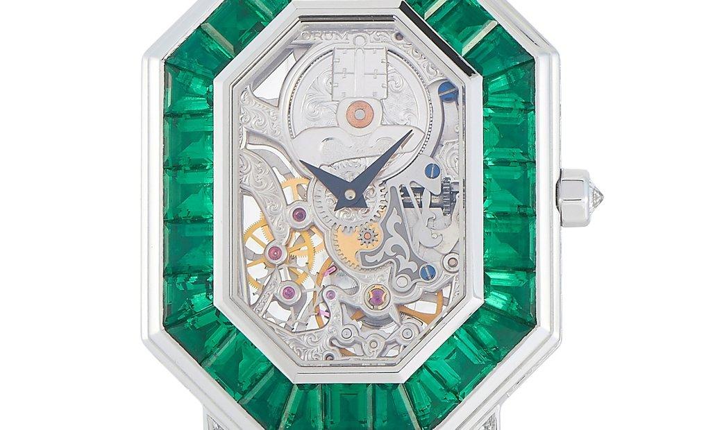 Corum Corum 18K White Gold Transparent Diamond and Emerald 39 mm Watch 257.102.69.0F87