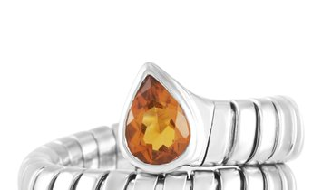 Bvlgari Bvlgari Serpenti Tubogas 18K White Gold Citrine Ring
