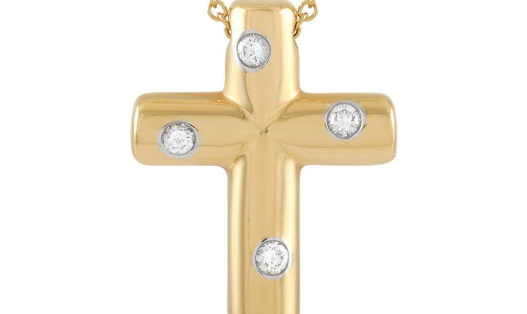 Tiffany & Co. Tiffany & Co. 18K Yellow Gold Diamond Cross Pendant Necklace