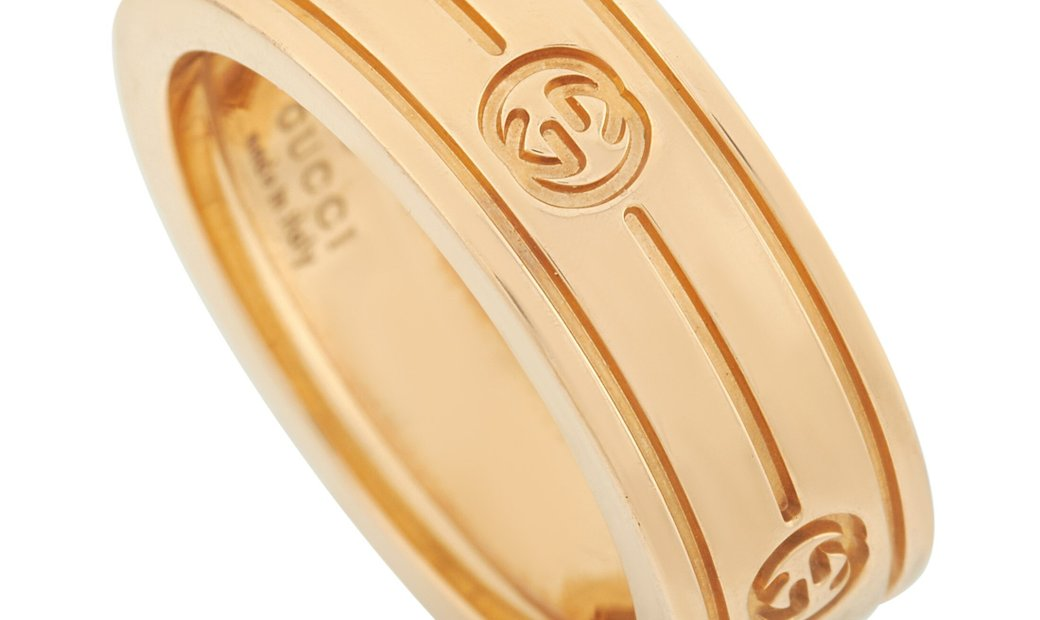 Gucci Gucci 18K Yellow Gold Interlocking G Band Ring