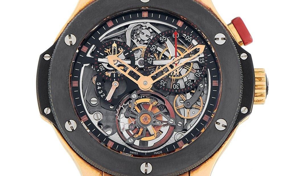 Hublot Hublot Big Bang Bigger Bang Tourbillon 18K Rose Gold 44 mm Limited Edition Men's Watch 308.PM
