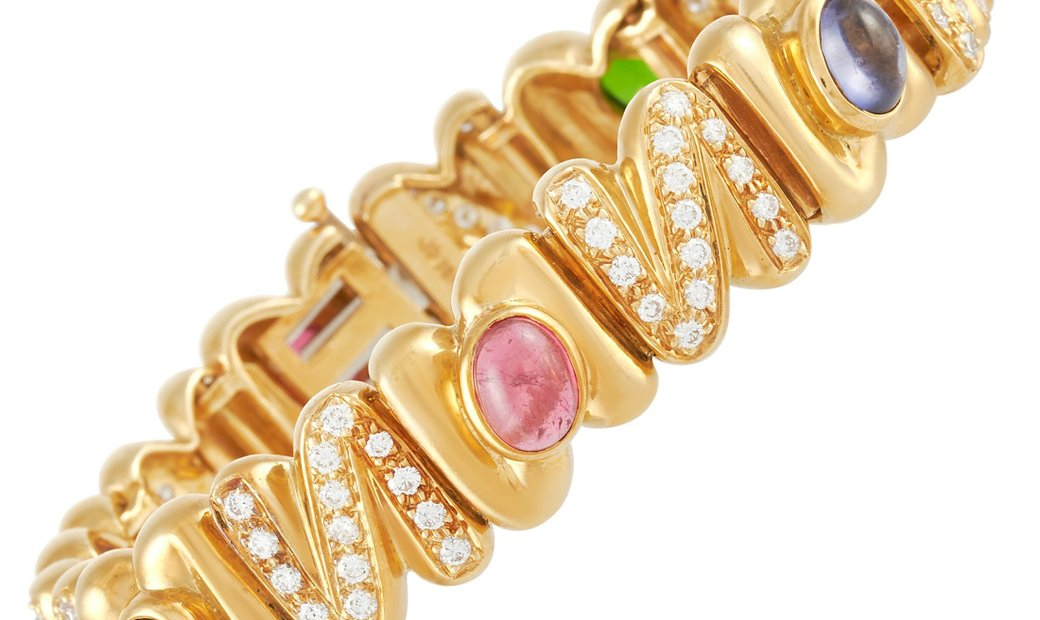 LB Exclusive LB Exclusive 18K Yellow Gold 2.75 ct Diamond and Semi-Precious Stones Bracelet