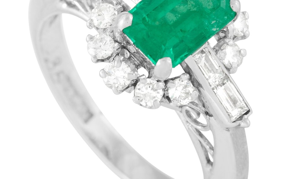 LB Exclusive LB Exclusive Platinum 0.41 ct Diamond and 0.86 ct Emerald Ring