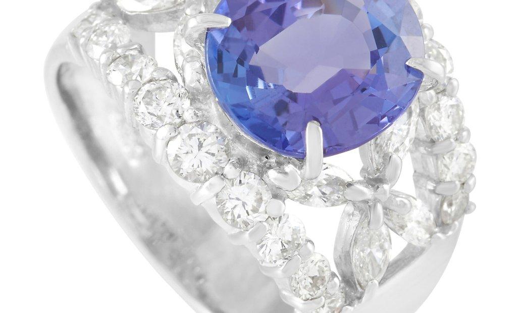LB Exclusive LB Exclusive Platinum 1.22 ct Diamond and 3.07 ct Tanzanite Ring
