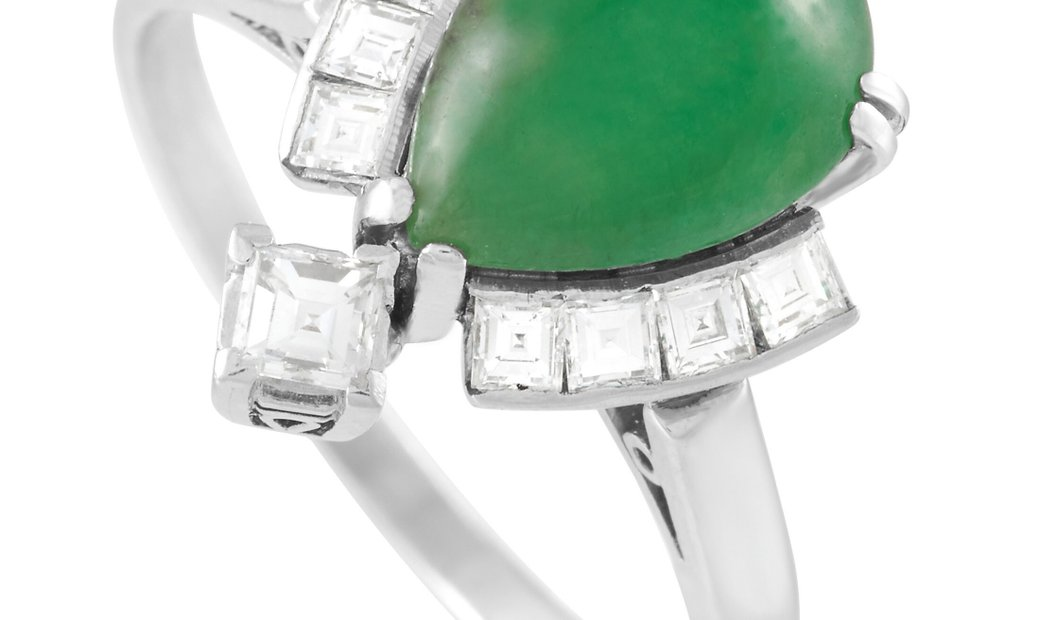 LB Exclusive LB Exclusive Platinum 0.41 ct Diamond and 1.90 ct Jade Ring