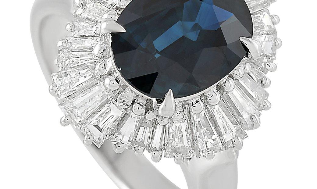 LB Exclusive LB Exclusive Platinum 1.55 ct Diamond and 2.84 ct Sapphire Ring