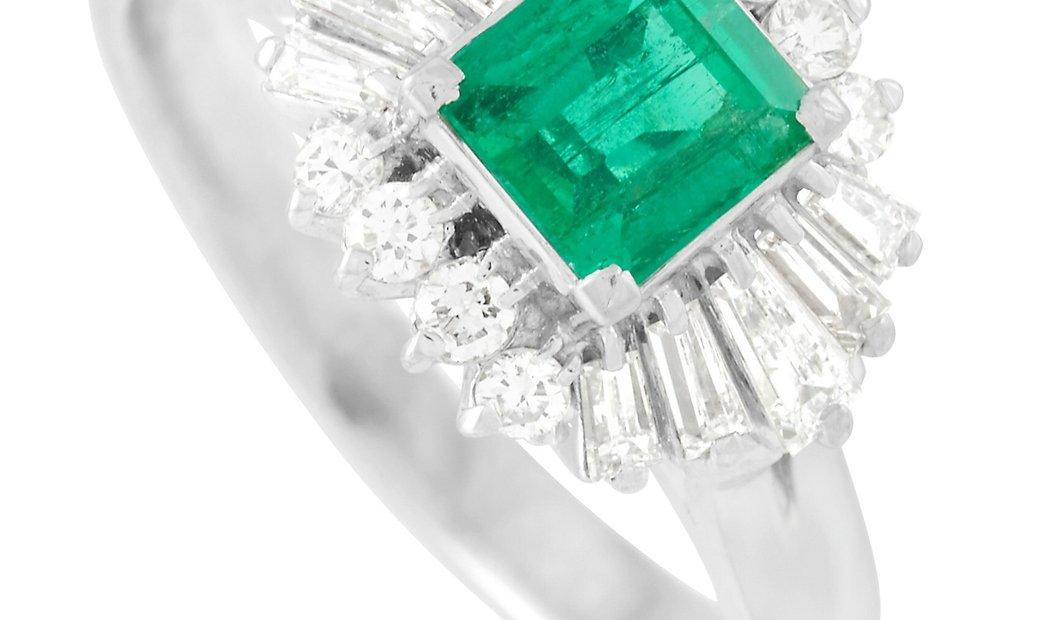 LB Exclusive LB Exclusive Platinum 0.49 ct Diamond and 0.70 ct Emerald Ring