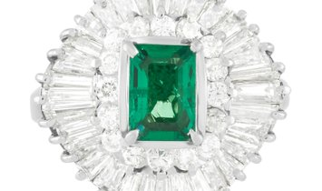 LB Exclusive LB Exclusive Platinum 2.02 ct Diamond and 0.94 ct Emerald Ring