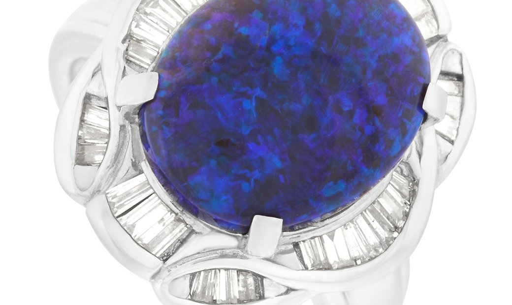LB Exclusive LB Exclusive Platinum 0.55 ct Diamond and 4.12 ct Opal Ring