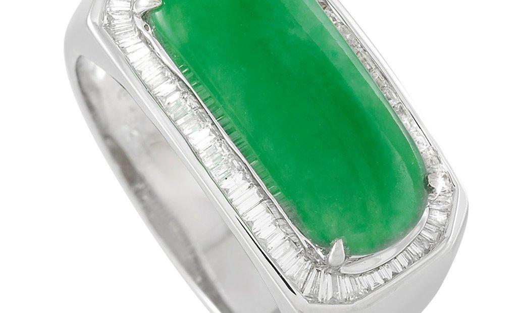 LB Exclusive LB Exclusive Platinum 0.65 ct Diamond and 3.25 ct Jade Ring