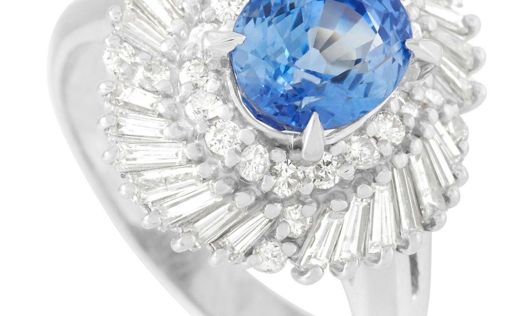 LB Exclusive LB Exclusive Platinum 0.96 ct Diamond and 2.53 ct Sapphire Ring