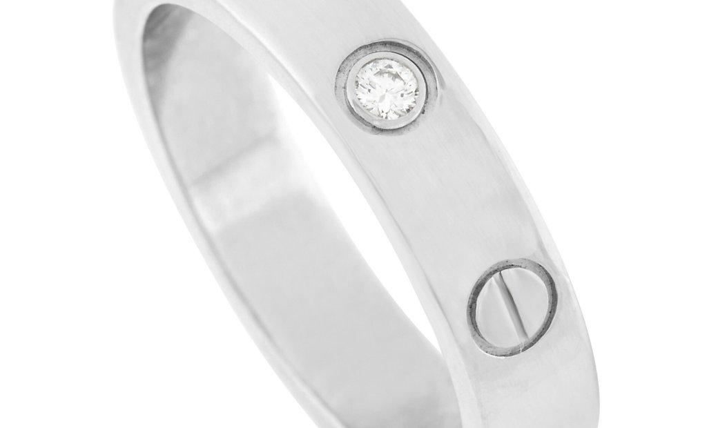Cartier Cartier LOVE 18K White Gold Solitaire Diamond Band Ring