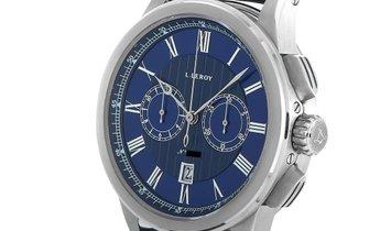 L. Leroy L. Leroy Marine Chronographe White Gold Blue Dial Watch LL202