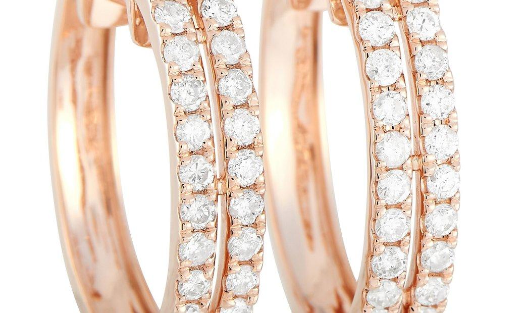 LB Exclusive LB Exclusive 14K Rose Gold 1.00 ct Diamond Hoop Earrings