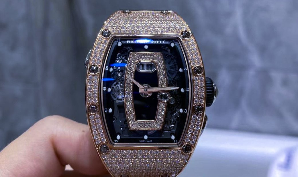 Richard Mille [NEW] RM 037 Rose Gold Ladies Full Pave Diamonds