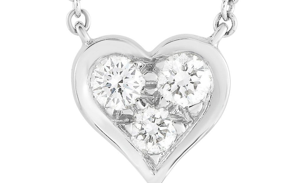 Tiffany & Co. Tiffany & Co. Platinum 0.17 ct Diamond Heart Pendant Necklace