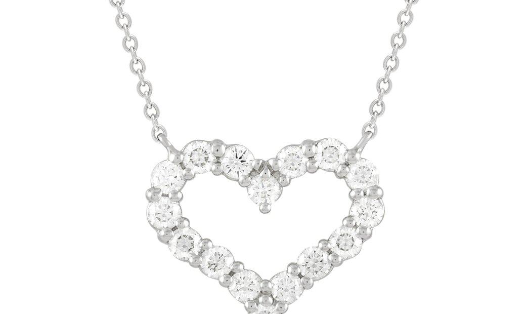 Tiffany & Co. Tiffany & Co. Platinum 0.54 ct Diamond Heart Pendant Necklace