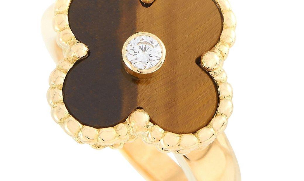 Van Cleef & Arpels Van Cleef & Arpels Vintage Alhambra 18K Yellow Gold Diamond and Tiger Eye Ring