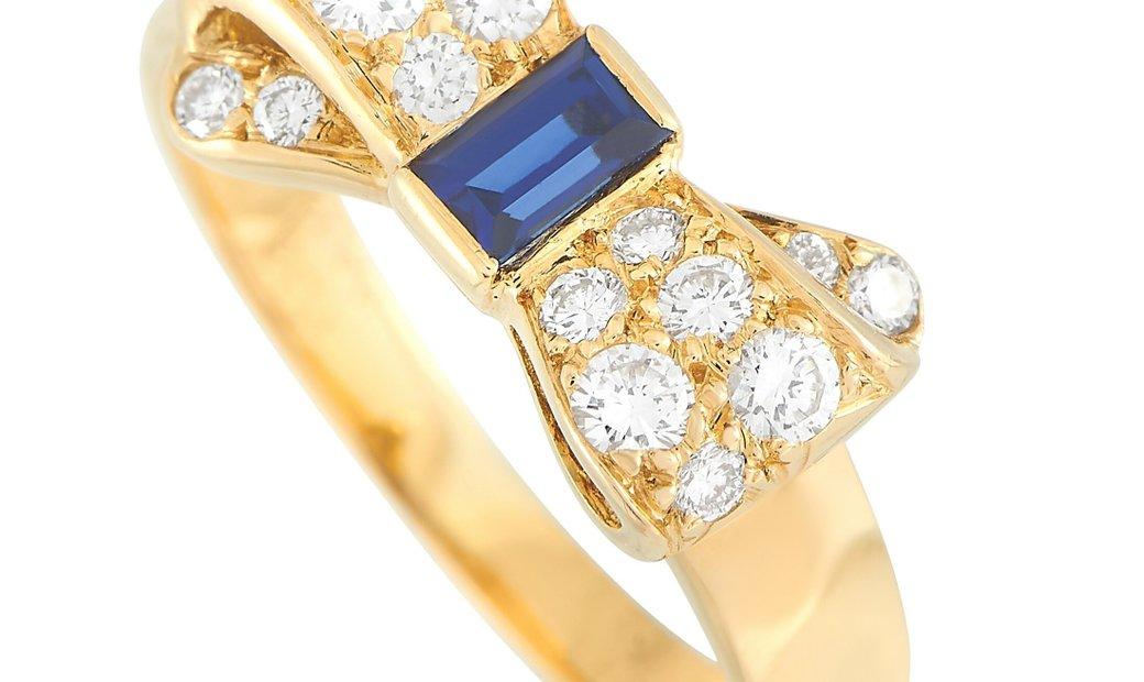 Van Cleef & Arpels Van Cleef & Arpels 18K Yellow Gold 0.38 ct Diamond and 0.32 ct Sapphire Bow Tie R