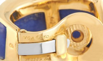 Van Cleef & Arpels Van Cleef & Arpels Vintage 18K Yellow Gold 0.60 ct Diamond Enamel Huggie Clip-on