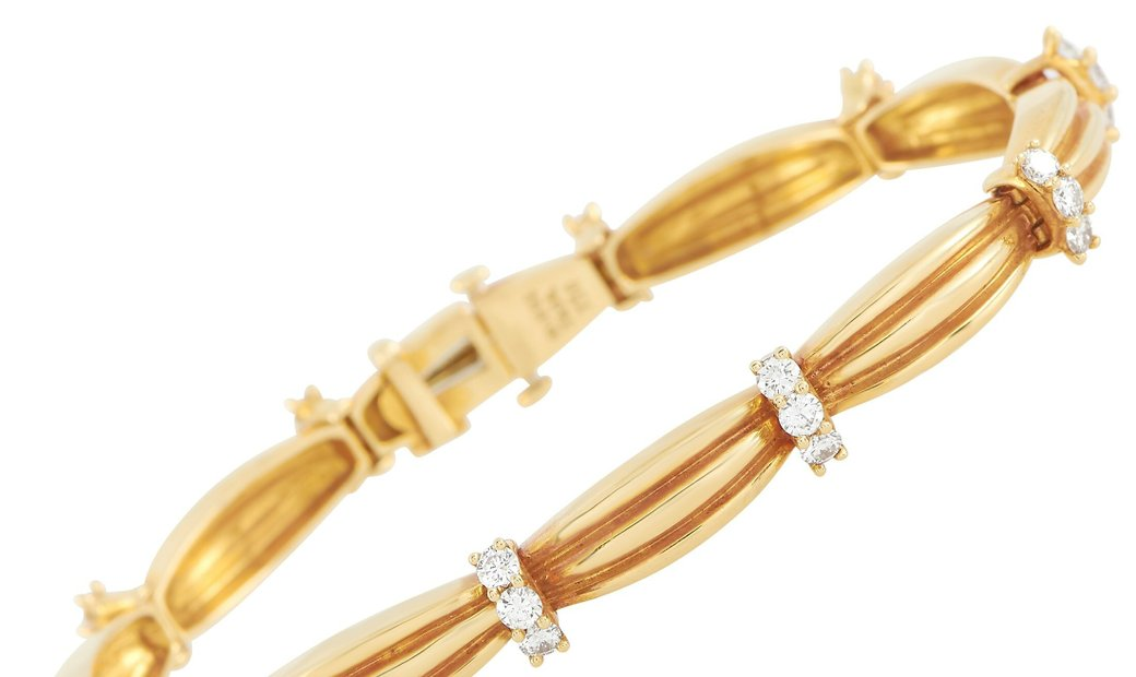 Tiffany & Co. Tiffany & Co. Signature II 18K Yellow Gold 1.50 ct Diamond Bangle Bracelet