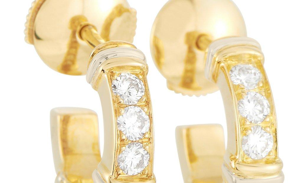 Cartier Cartier 18K Yellow Gold 0.50 ct Diamond Hoop Earrings
