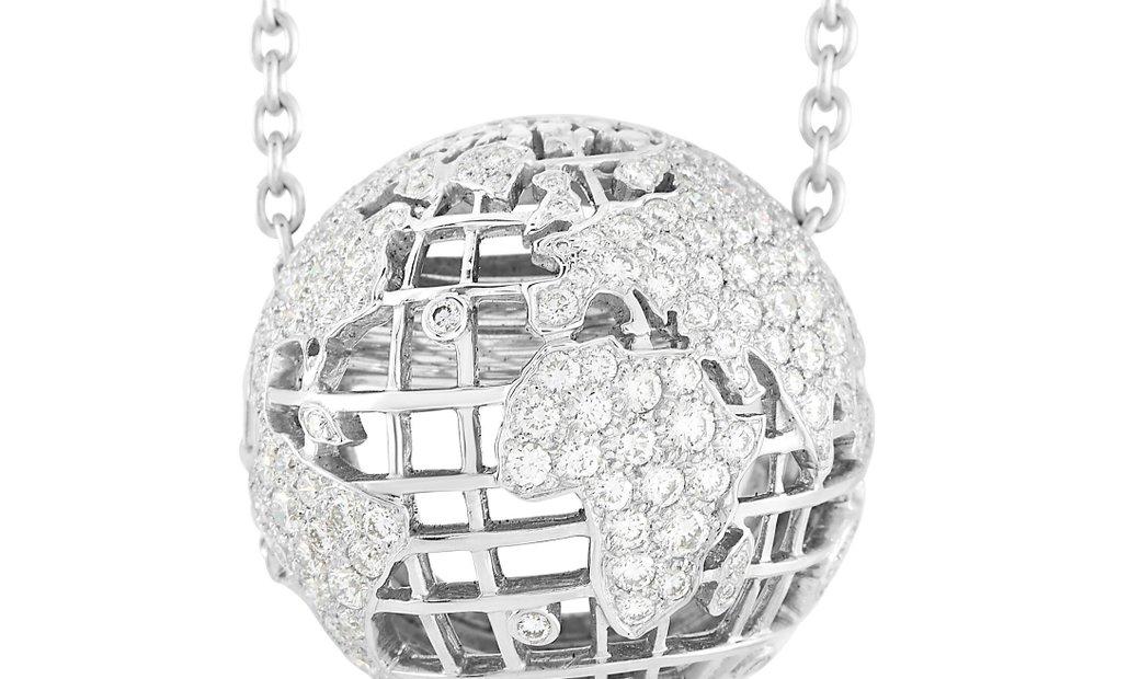 Chanel Chanel 18K White Gold 2.20 ct Diamond Globe Necklace