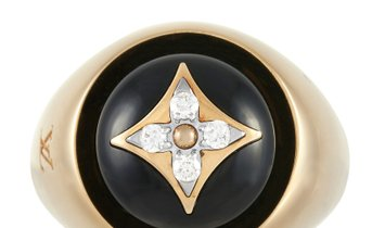 Louis Vuitton Louis Vuitton B Blossom Signet 18K Yellow Gold Onyx and Diamond Cocktail Ring