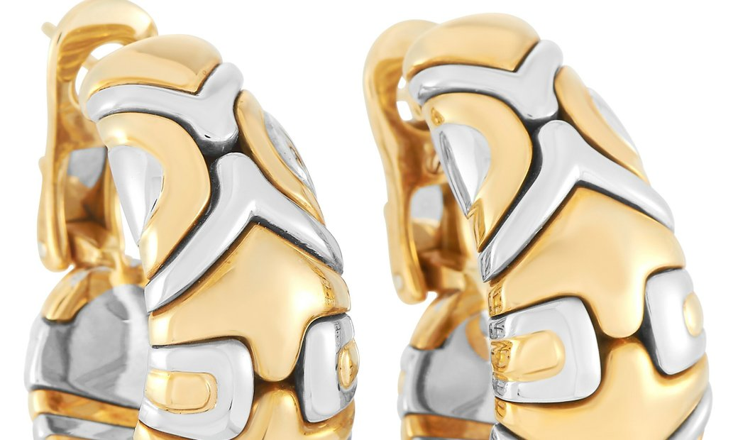Bvlgari Bvlgari Alveare 18K Yellow and White Gold Hoop Earrings